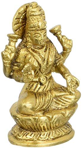 Regali religiosi indù Dea Laxmi indiano Décor ottone Statua 3 pollici, 260 GR