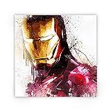 Zabarella Iron Man Super héros Marvel Comics Avengers Toile imprimée sur châssis Pop Art Décoration Murale Salon Chambre Enfant (80cm x 80cm) (31inch x 31inch)