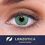 LENZOTICA lenti colorate 2 pezzi lenti a contatto in silicone idrogel naturale | lenti blu colore Crystal Blue + contenitore DIA 14.00 senza correzione 0.00 Diottrie | lenti a contatto