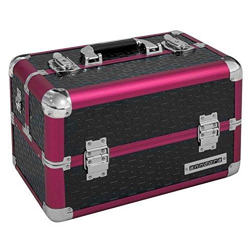 Stabiles Beauty Case - Kosmetikkoffer  Schwarz Rot Karo
