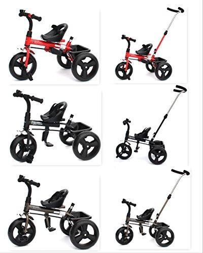 Infantasie 'Cruiser Basic' 2in1 Kinderwagen Dreirad ab 1 Jahr mit lenkbarer Schubstange (Farbe: Rot), mit flüsterleisen Gummireifen, Klappbaren Fußrasten, Vor- und Rücklauf, Kinderdreirad durch Umbau für Jungen und Mädchen ab ca. 1 bis 5 Jahren geeignet