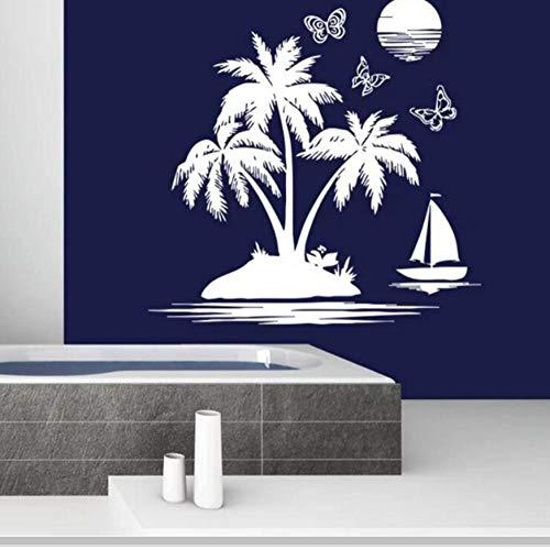Badezimmer Wandtattoo Sailfish Sea Beach Wandaufkleber Abnehmbare Palme Sonnenuntergang Tapete Nautischen Thema Dekoration 58X57 cm