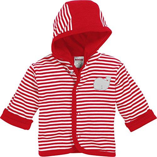 Schnizler Unisex Baby Jäckchen Wal, Rot Geringelt, Oeko-Tex Standard 100 Jacke, weiß 44, 68