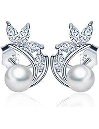 Yumi Lok perlas de plata de ley 925 con Circonita hojas Trébol Pendientes Pendientes hipoalergénico Pendientes Joyas para mujer mujeres niña