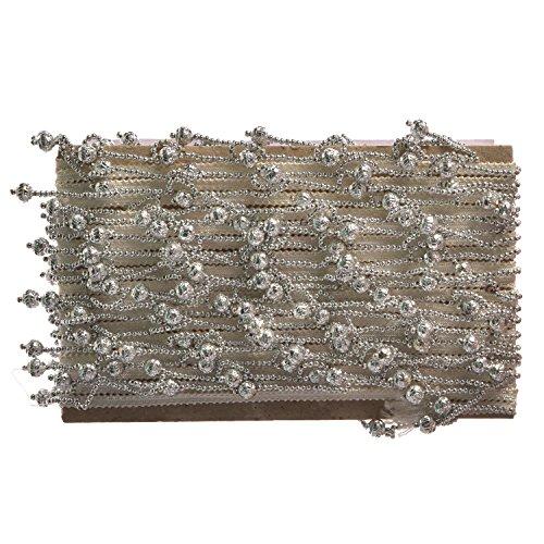 Weddecor Spitze mit Perlenbesatz, 1 m lang, Vintage-Stil, für Verzierungen, Scrapbooking, Brautkleider, Dekorationen, Kunst und Handwerk, 12 mm breit, Silver with Hanging Beads, 2 m