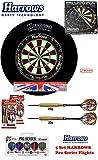 Starter-Dartset (Harrows Pro Matchplay Bristle Dartboard + H. Surround black + 2 Set London Pride Darts + Abwurflinie + 5er Set Flights