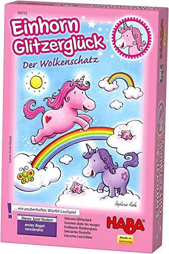 HABA 300123 - Einhorn Glitzerglück Der Wolkenschatz, zauberhaftes Würfelspiel mit 60 Glitzerkristallen für 2-4 Spieler ab 3 Jahren, schönes Geburtstagsgeschenk für alle kleinen Einhorn-Fans