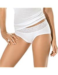 5er Pack Damen Hüftslips - UNWAGO - Midislip - Slip mit Spitze - Damen-Slips aus reiner Baumwolle -Unterhosen ohne Seitennähte - Kochfest 60 Grad - Farbe Weiß, Schwarz - Größe 38 bis 46