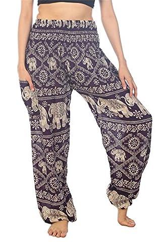 Lofbaz Women's Elephants Smocked Waist Boho Trousers Hippy Pants Purple M