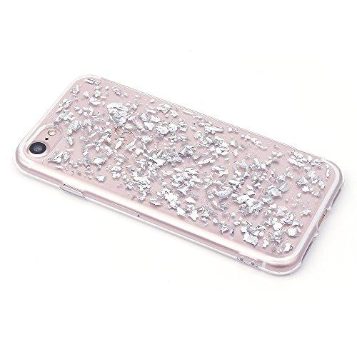 iProtect Apple iPhone 7, iPhone 8 biegsame TPU Soft Case Hülle Glitzer Pailletten Design in Silber IP7 Design Silber
