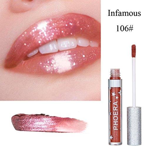 samLIKE PHOERA Matte zum Glitter flüssigen Lippenstift wasserdichten Lipgloss Make up (F)