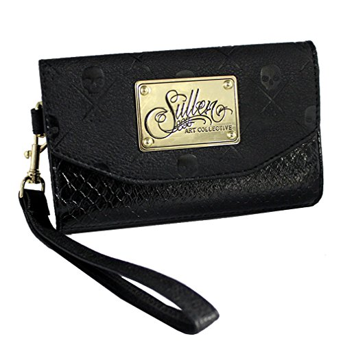 Sullen Clothing - Sullen Angels iPhone 6 Handy Hülle & Geldbörse Schlangenlederoptik - Snake Icon Damen Portemonnaie mit Trageschlaufe (Snake-clutch-handtasche)