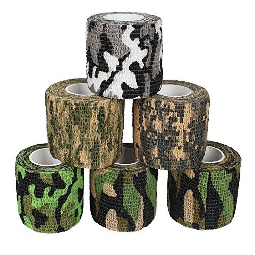 Verbände, Bandagen (Andux Zone 6 Rollen Haftbandage Verband elastische Selbsthaftende cohesive Bandage Elastischer Fixierverband Camouflage Bandagen ZZTXBD-03 Farbe Random (5.0cm*4.5m))