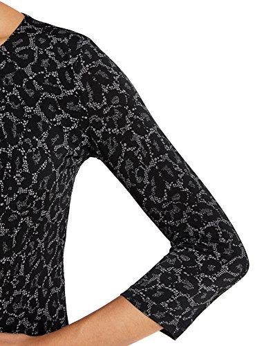 oodji Collection Femme T-shirt Imprimé à Manches 3/4 Noir (2329A)