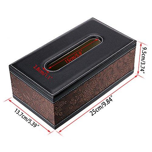 BTSKY PU Leather Retro Household Office Rectangular Tissue Paper Holder Box Cover Case Napkin Holder With Retro Pattern Flower