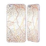 Head Case Designs Rose Gold Marmor Glitzer Druecke Silber Rahmen Hülle mit Bumper aus Aluminium für iPhone 6 Plus/iPhone 6s Plus