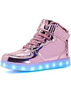 KE1AIP Unisex Hoch oben LED Schuhe USB 7 Farbe Sneaker Turnschuhe Sportschuhe für Unisex-Erwachsene Herren Damen