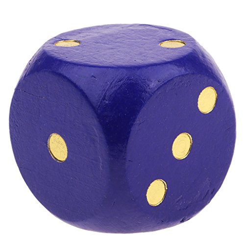 MagiDeal 1x Wooden D6 Dice 5cm Gaming Dice for D&D RPG Accessories Wood Multicolor - Blue, as described