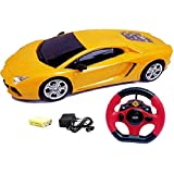 Johnnie Boy Remote Control Jackman Lambhorghini Full Function 1:18 Racing Rechargeable Toy Car With Steering Remote, Rechargeable Battery & Charger