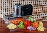 from Andrew James Andrew James Electric Mandoline Fruit and Vegetable Slicer with 3 Blackes, Ice Shaver, Grater and French Fry Attachments, Safe, Simple Use, Dishwasher Safe