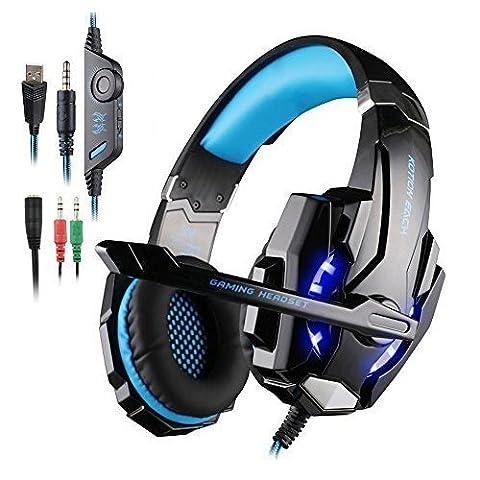 Kotion Each G9000 Casque de Jeu pour PS4 Tablet PC Téléphone Mobile Portable iPhone, AFUNTA Ecouteur Gaming avec Micro et LED - Noir+Bleu