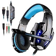 Cuffia Gaming per PS4 New Xbox One, AFUNTA G9000 Cuffie Gaming Headset Auricolare con Microfono Stereo Bass Luci a Led Regolazione del Volume Cancellazione di Rumore Headset Gaming per PC- Nero + Blu