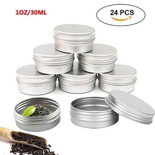 pawaca 30 ml Unzen/Leere Behälter Dose, 24 Stück Aluminium Gläser wiederverwendbar Silber Metall Rund Mini Tragbar Aufbewahrungsbox mit Schraube Deckel für LIP BALM, Tee, Schmuck, Süßigkeiten, Kerzen, 5 x 2 cm