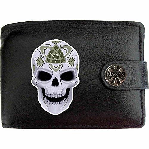 Celtic Skull Death Keltischer Totenkopf Tod Klassek Herren Geldbörse Portemonnaie Brieftasche Kelten Druiden aus echtem Leder schwarz Geschenk Präsent mit Metall Box (Leder-kette Geldbörse Skull-echt)