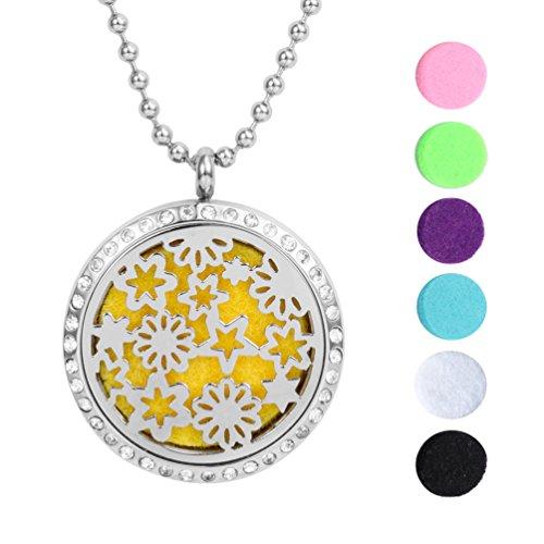 Beste X'mas Geschenk für Sie Meilanty Damen Halskette 60cm Öle Diffusor Aromatherapie mit 6 Pads YZ-B01