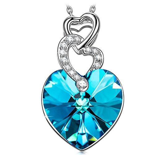 Kate Lynn Herz zu Herz Kette Damen Halskette Anhänger Blau Kristall SWAROVSKI Weihnachtsgeschen Geburtstagsgeschenk Geschenk Weihnachten Geburtstag für Frauen Freundin Mama Jahrestag