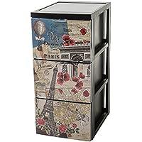 Iris Ohyama 143010scf-303estilo Chest Torre de almacenaje 3cajones sobre ruedas plástico negro 39x 29x 61,5cm