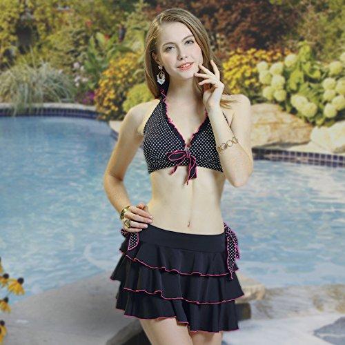 ZHANGYONG*Split Badeanzug weiblichen schöner Swimmingpool Kostüm kleine Partikel von Brust und sexy Video thin bikini Badeanzug 3 Stück, L, weiss auf schwarz Wave (Tween Kostüme)