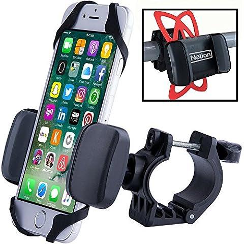 Supporto da bici per smartphone, iPhone Bike Mount. Per montare in pochi sec. qualsiasi cellulare sul manubrio della bicicletta. Perfetto per ciclisti - comp. iPhone 4, 5, 6, 7, Samsung, Xperia