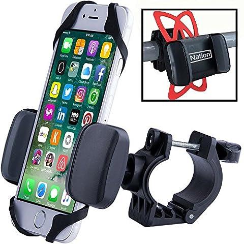 Support smartphone vélo, support vélo iPhone, support solide de portable sur le guidon de votre vélo en quelques secondes. Cadeau idéal pour cycliste - Compatible iPhone 4, 5, 6, 7, Samsung, Xperia
