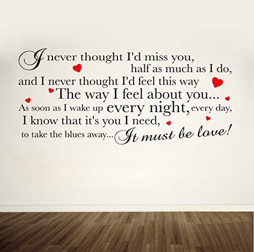 s Liebe Lyrics Adult/Teen Wandkunst Wand Stickedecal Schlafzimmer Zitate Vinyl Mural Zimmer R54X90Cm ()