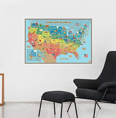 Kreative weltkarte der amerikanischen usa zeichen abziehbild wandaufkleber für kinder studenten zimmer abziehbilder schule wandkunst für studie geschenke 70 cm * 50 cm