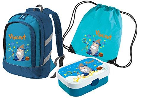 Mein Zwergenland Set 4 Kinderrucksack Bicolor, Brotdose Mepal mit Bento Box und Gabel und Turnbeutel mit Namen, 3-teilig, Blau