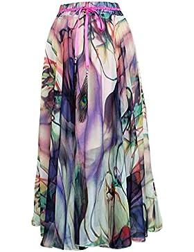 Moollyfox Paisaje De La Moda Las Mujeres Impresas De Cintura Alta Faldas De Tul Plisado Midi Como Imagen