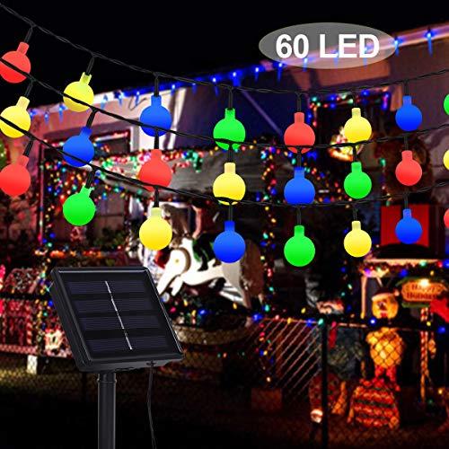 Solar Lichterkette Außen, SanGlory 11M 60 LED Kugel Lichterkette Bunt 8 Modi Garten Solarleuchte IP65 Wasserdicht Drinnen und Außen Deko Glühbirne für Garten, Balkon, Party, Hochzeit, Weihnachten