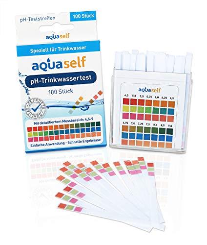 pH Teststreifen (100 Stück) für Trinkwasser; detaillierter Messbereich von 4,5 – 9; einfach, schnell und präzise; Original pH Wert Teststreifen von Aquaself - inkl. gratis E-Book