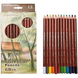 Juego de 12 lápices de colores pastel para dibujo, dibujo, retrato, paisaje, etc.