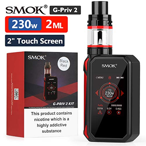 "Ufficiale SMOK G Priv 2 230W Sigaretta Elettronica Kit Completo, TFV8 X-Baby 2ml Svapo Advanced Kit, 2"" HD Touch Screen, VW Temp Control Vapore Senza Nicotina - Black Red"