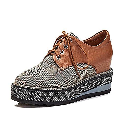 Damen Plateau Creepers Schuhe WSXY-A0302 Derby Keilabsatz Plaid Tuch Zubehör, Yellow, 39 (Jungs 80er Mode)