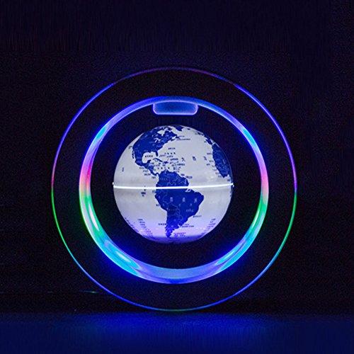 Schwebender Magnetische Kugeln LED Weltkarte Blau Und Weiß Porzellan Globus Nacht Perle Kinder Home Office Dekoration (Magnetische Kugeln Blau)