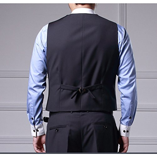 Zhhlaixing Moda Men Gentleman Suit Vest 4 Button Business Casual Plus Size Waistcoat /Size XXL-6XL Dark Blue