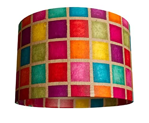 Anglesey Paper Company Medium Drum Lightshade with Batik Multi Squares, Handmade in UK