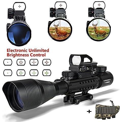 UMsky fucile cannocchiale 4-12x50 Mirino con zoom illuminato reticolo, Visual rosso e verde, l'uso di caccia, ad alta precisione, per tattica fucile aria pistola ottica fucile da caccia