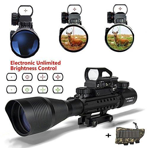 Gewehrzielfernrohre,UMsky 4-12 x 50 Rote und grüne Punkt mit Montage Fadenkreuz taktisch Reflexion holographische optische Sichtung Optik Jagd Luft Zielfernrohr (Acog Visier)