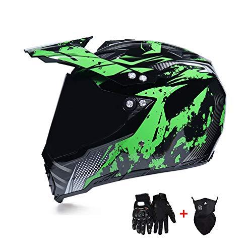 Preisvergleich Produktbild LEENY Motocross-Helm,  Herren Crosshelm Full-face Schutz mit Visier Sonnenblende Maske Handschuhe,  Motorrad-Helm Off-Road ATV MTB Quad Motorräder Racing Downhill Enduro Integralhelm,  Schwarz Grün, XL