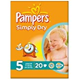 Pampers Simply Dry taille 5 (11-25 kg) Carry pack junior 6x20 par paquet